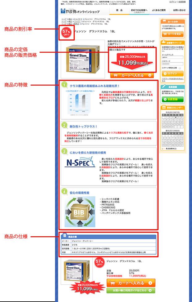 商品画面の詳細